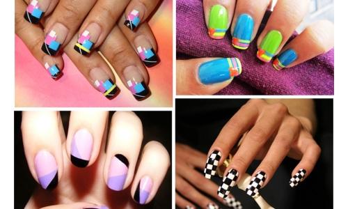 Идеи геометрического маникюра шеллаком на длинные ногти