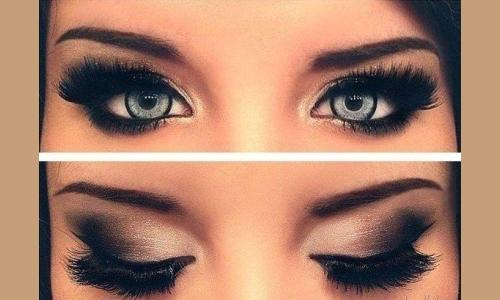 Классический смоки айс на серых глазах