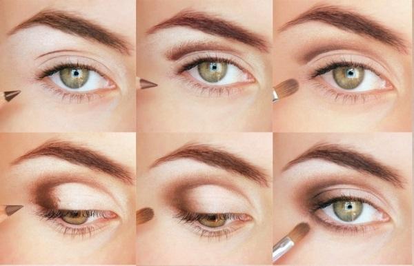 Пошаговое фото макияжа в стиле нюд для карих глаз