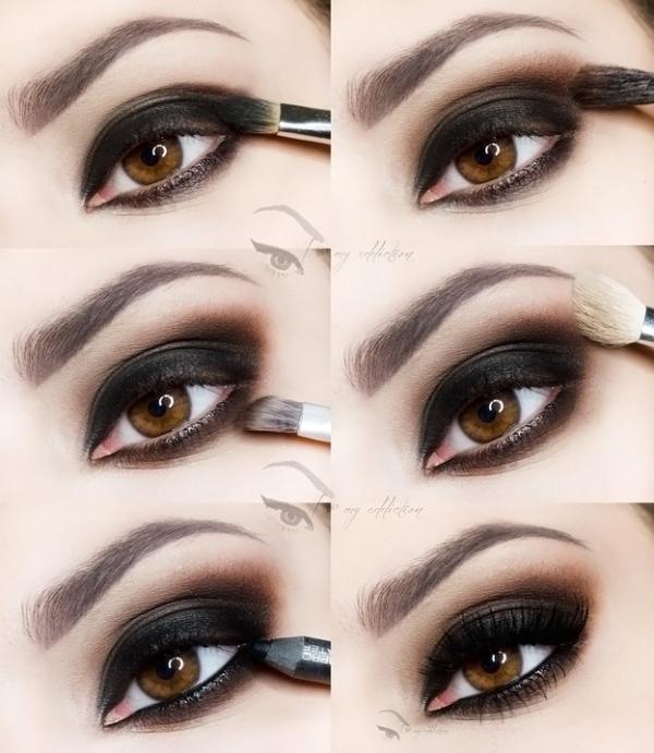 Вариант макияжа смоки айс для карих глаз