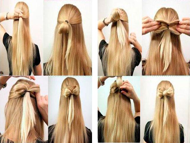 Пошаговая инструкция - как сделать бантик из волос на распущенных локонах