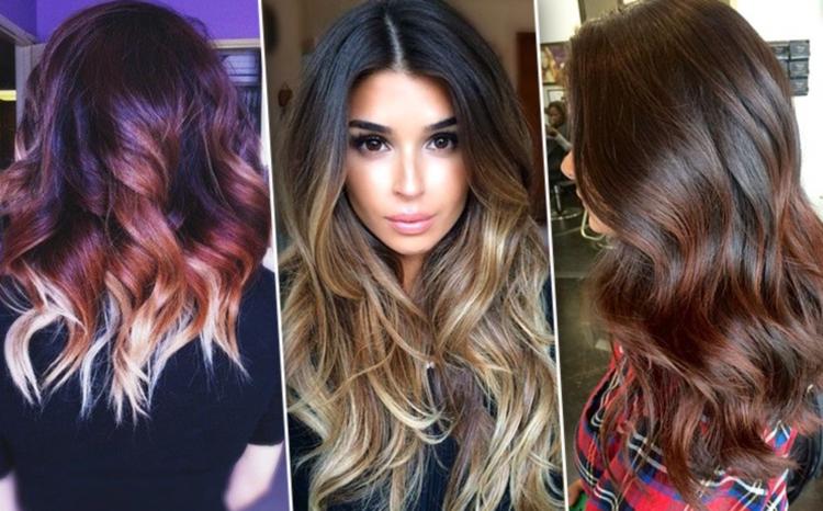 Интересные сочетания цветов при покраске темных волос в стиле балаяж