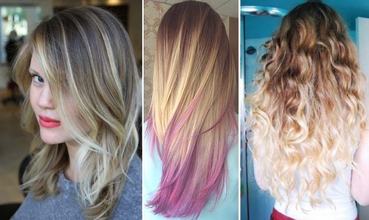 Пепельный, розовый и блонд балаяж на светлых волосах