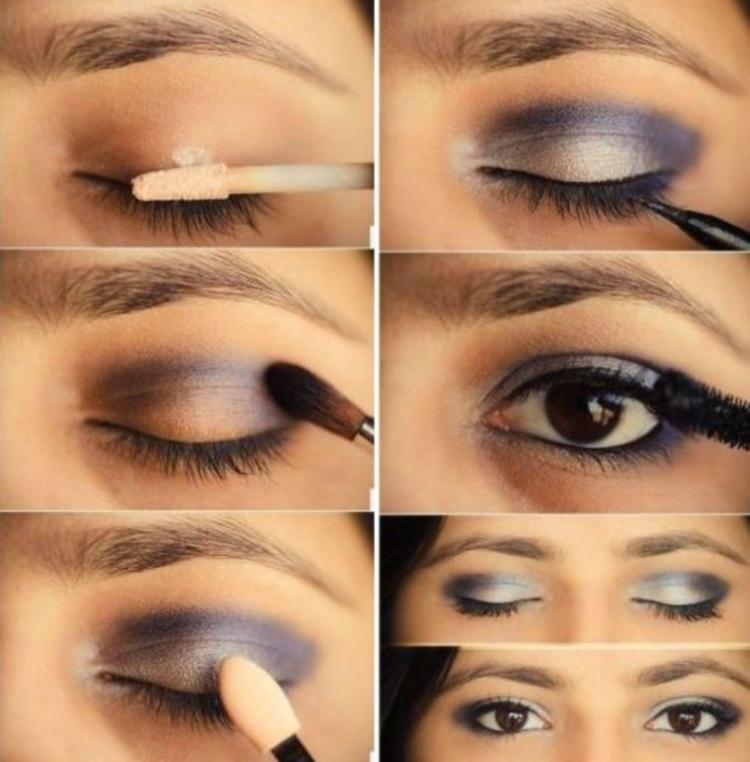 Вариант макияжа для нависшего века черного глаза