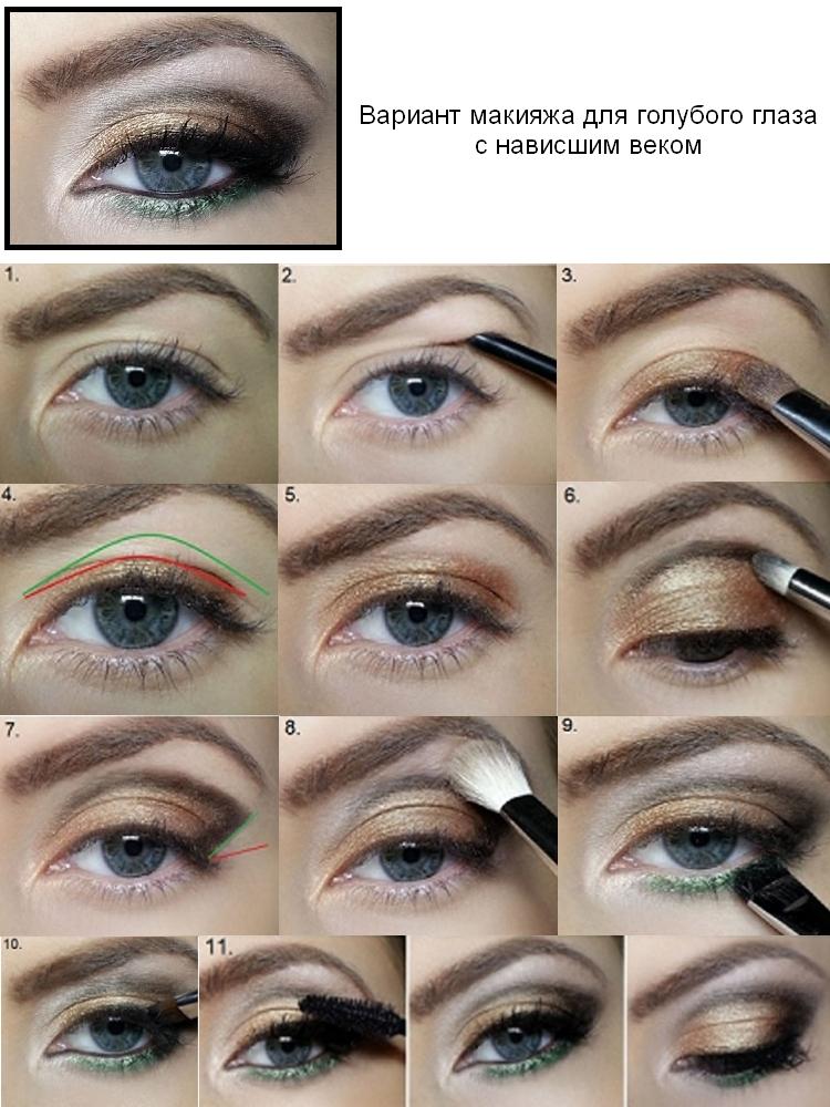 Вариант макияжа для нависшего века голубого глаза