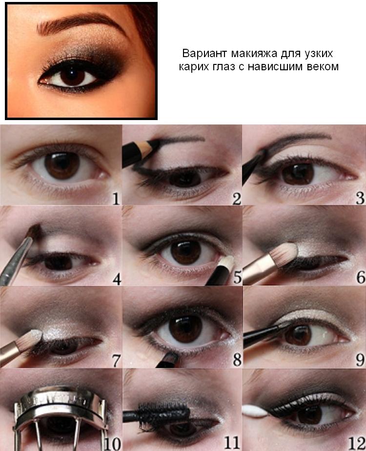 Вариант макияжа для нависшего века карего узкого глаза
