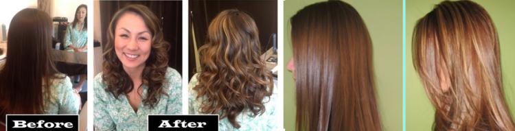До и после проведения колорирования на темные волосы