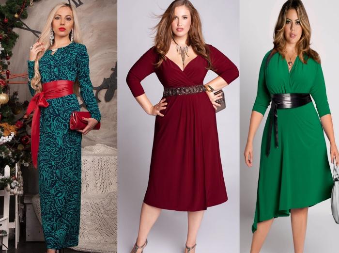 Нарядное платье для женщин 50 лет с контрастным поясом