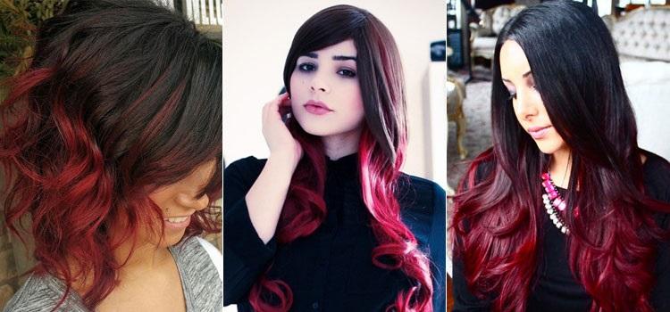 Красное омбре на черные волосы - техника и особенности окрашивания