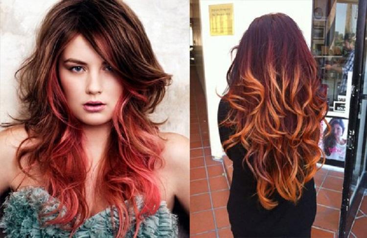 Окрашивание в стиле омбре - как смотрится на рыжих волосах