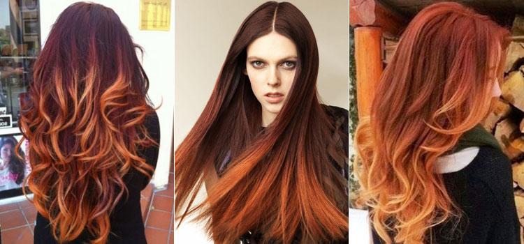 Варианты окрашивания в стиле омбре на рыжие волосы