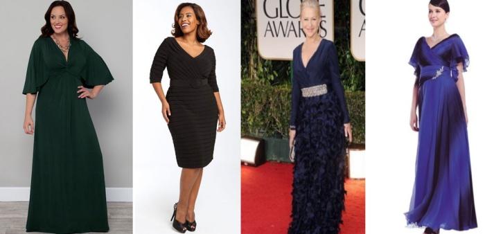 Вечерние платья для женщин 50 лет с V-образным вырезом