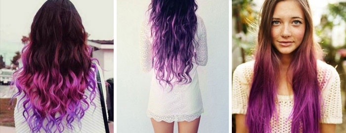 Цветное омбре на длинные волосы, фото