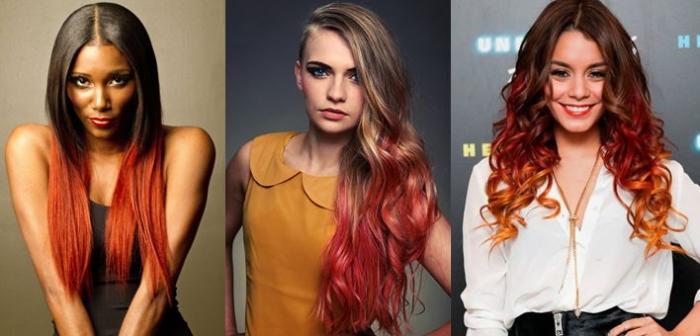 Омбре языки пламени, красное на длинные волосы, фото