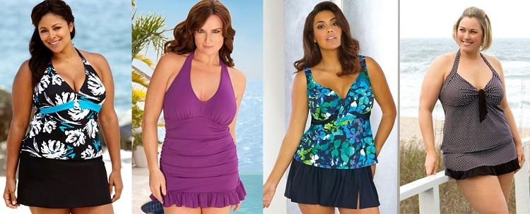Купальники больших размеров с юбкой - отличный вариант для полных женщин