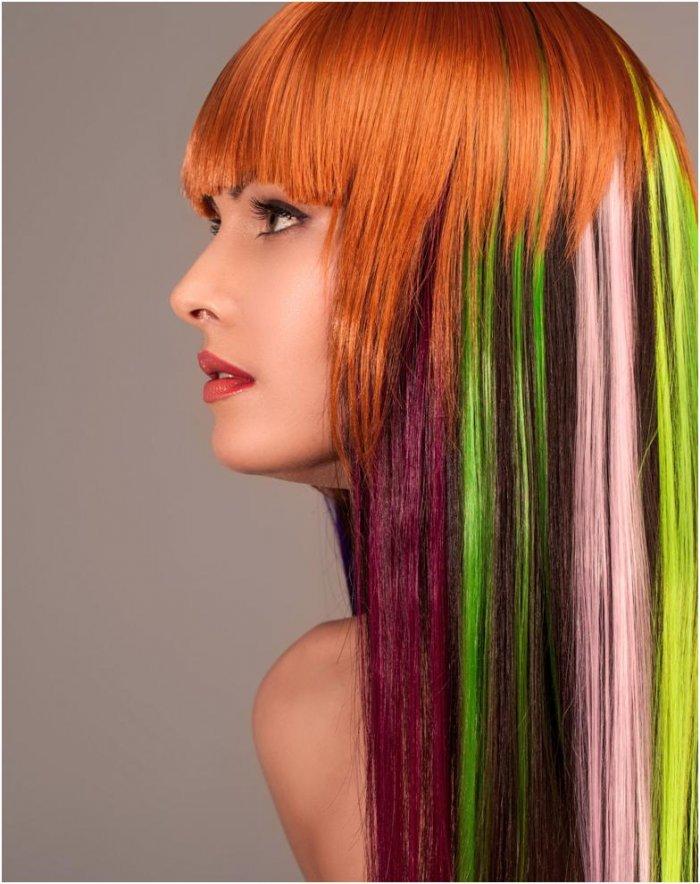 Блочное окрашивание длинных волос