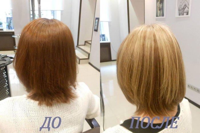 Короткие волосы после мелирования