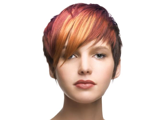 Колорирование на темные волосы с короткой стрижкой, фото