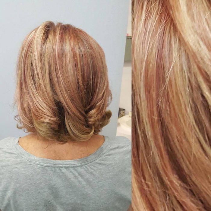 Рыжее мелирование светлых волос