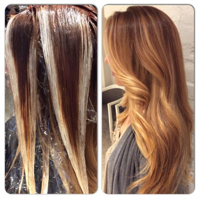 Мраморное окрашивание светлых волос