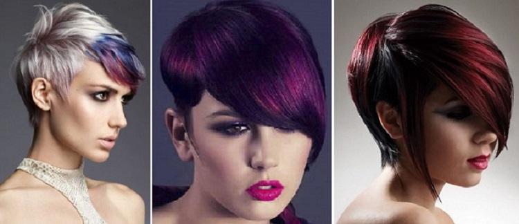 Цветное мелирование темных коротких волос - кому оно подходит