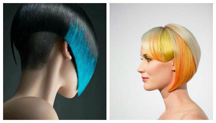 Блочное креативное окрашивание волос