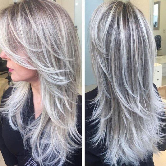 Пепельное мелирование светлых волос