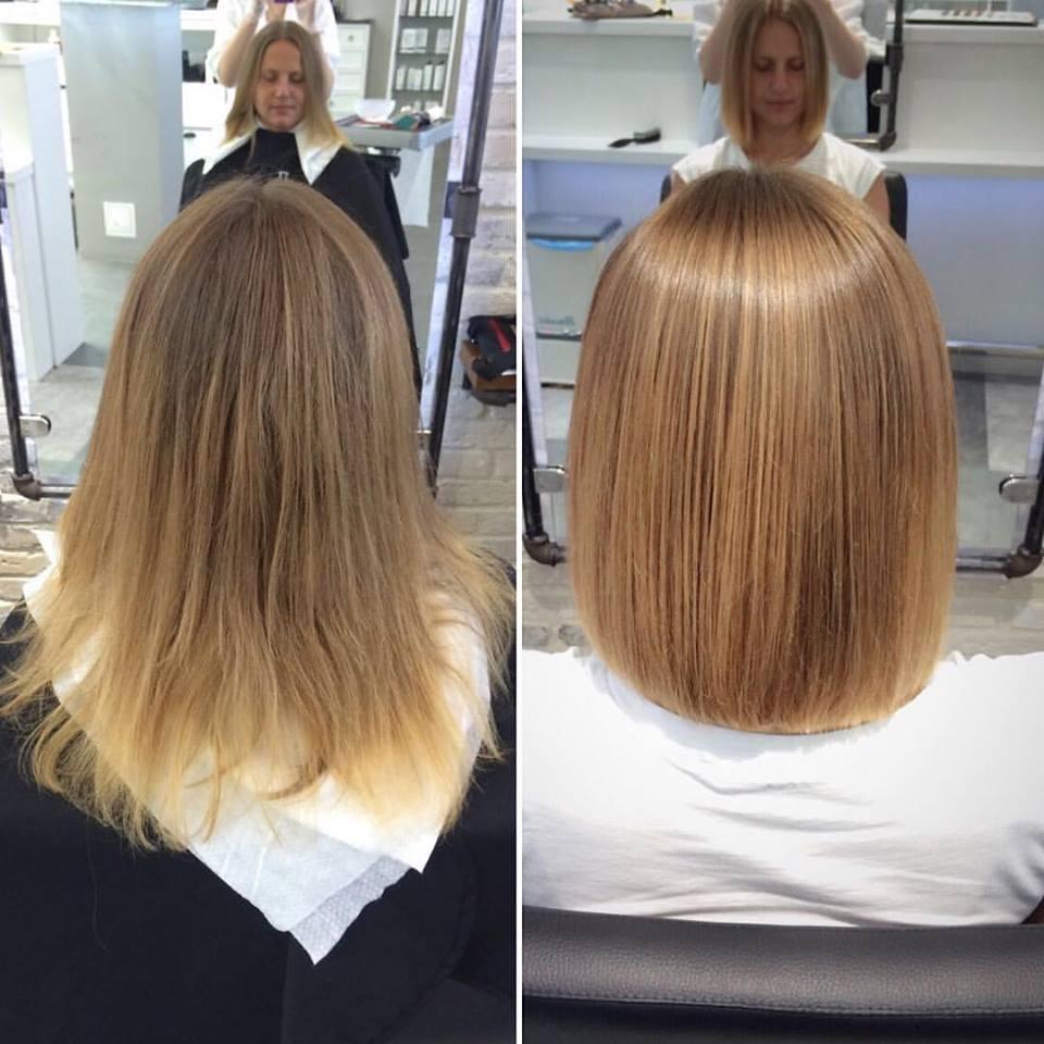 До и после мраморного окрашивания волос