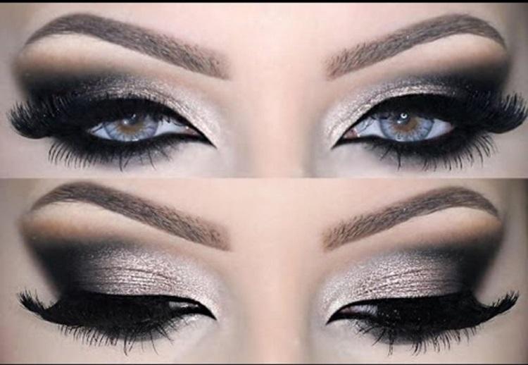 Серые глаза: вечерний макияж