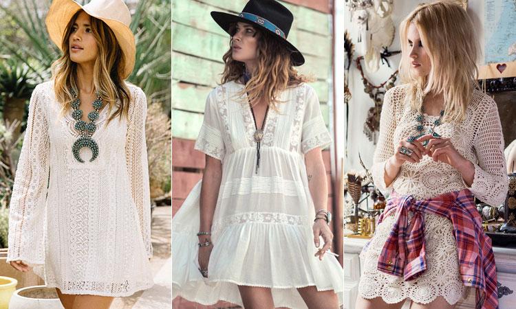 С чем носить белое кружевное платье - образ в стиле бохо