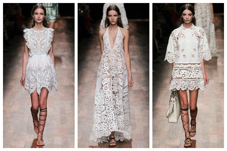 С чем сочетается белое кружевное платье