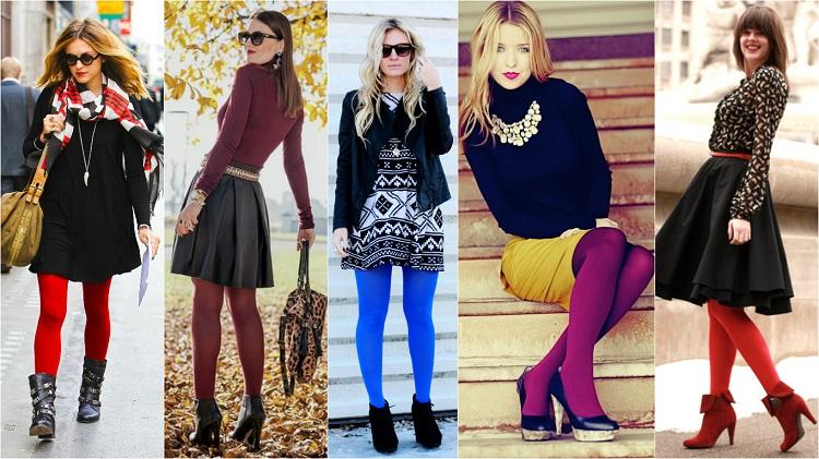 Яркие и цветные колготки - сочетание с одеждой