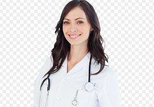Молодая девушка-врач с фонендоскопом