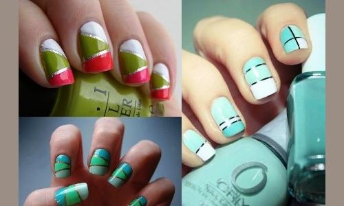 Идеи геометрических рисунков для маникюра на короткие ногти