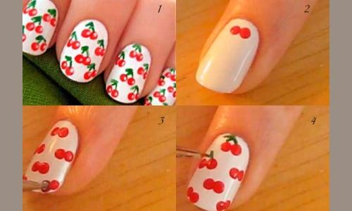Летний ягодный маникюр на короткие ногти