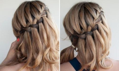Плетение прически водопад на волосах средней длины