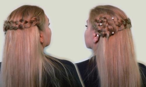 Вариация французского водопада - с цветком из волос