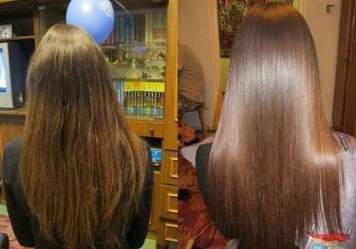 Фото до и после ламинирования волос желатином дома
