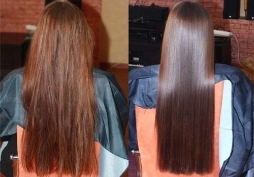 Фото результатов домашнего ламинирования волос желатином