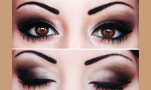 Карие глаза с макияжем смоки айс