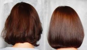 Результат применения ламинирования волос желатином