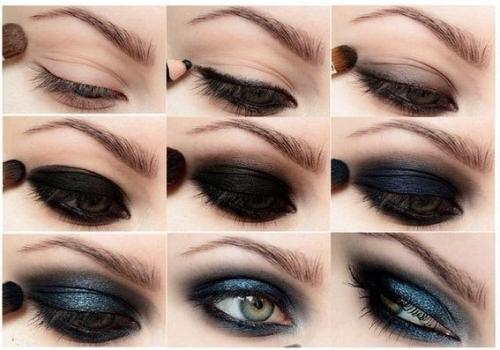 Вариант нанесения темного макияжа смоки айс