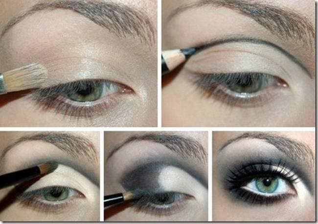 Эффектный вечерний макияж для голубых глаз - техника нанесения