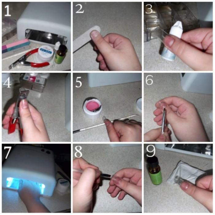 Наращивание ногтей гелем на формах: пошаговая инструкция, как