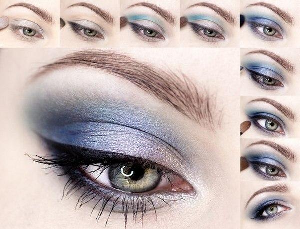Рекомендации при создании повседневного и вечернего макияжа для голубых глаз