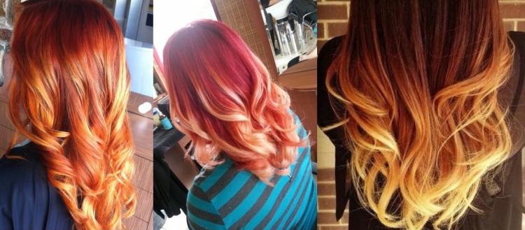 Балаяж на рыжих и красных волосах - пламенный эффект
