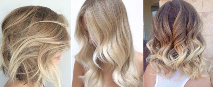 Балаяж на светлые средние и длинные волосы