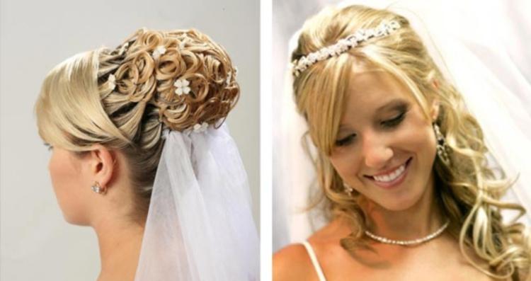 Красиво смотрится свадебная прическа средней длины с россыпью мелких цветов