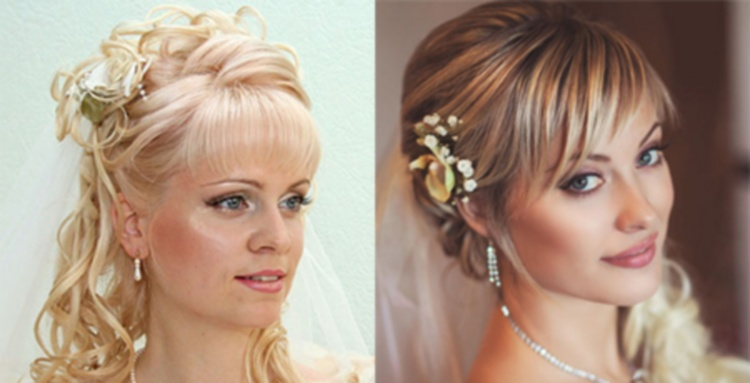 На тонких и редких средних волосах для свадебной прически челку лучше профилировать