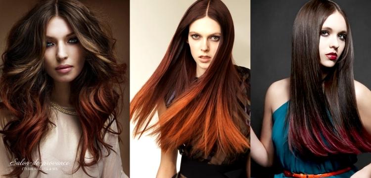 Шатуш на темные волосы ярким цветом